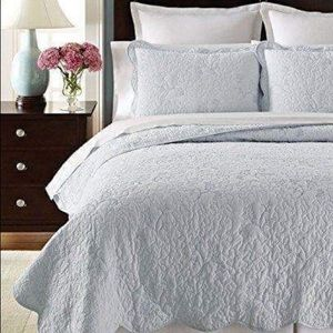 Martha Stewart, Matalasse Coverlet Set, Soft Blue